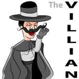 Evil Villian Moustache Man. An image of a man dressed as an evil villian twirling his moustache Stock Image
