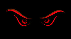Evil wild eyes. Dark evil red eyes illustration Royalty Free Stock Images