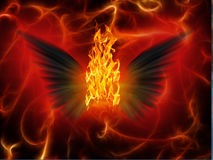 Evil Winged. Black wings spread out with fire Stock Photos