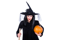 Evil Witch With Broom and Pumpkin Royalty Free Stock Photography
