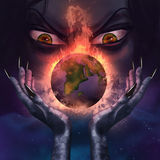 Evil witch holding a burning planet. Evil witch with evil grim face holding a burning planet Earth in her scary long hands illustration Royalty Free Stock Images