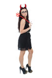 Evil woman in black skirt Stock Image