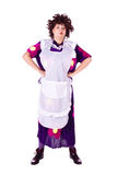 Evil woman, maid. Evil woman in a maid costume with a white apron. White background. Studio photography Stock Photography