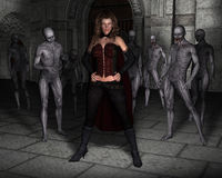 Evil Woman Queen, Castle Illustration. The evil queen of darkness! A young woman stands in front of her army horde of monsters as the female embraces darkness Stock Photos
