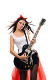 Evil woman rock star guitarist Stock Photography
