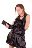Evill woman with photocamera Stock Photography