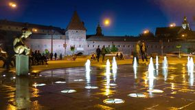 Evining fountain in Lvov stock footage