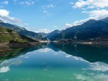 Evinos Lake, Greece. Evinos Lake with sky reflection, Greece Stock Images