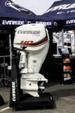 Evinrude E Tec boat engine. NORWALK, CT - SEPTEMBER 25: Evinrude E Tec boat engine at Norwalk boat show in September 25, 2015 in Norwalk, CT Stock Photography