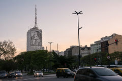Evita Peron drawing on a building on traffic in Avenida 9 de Julio Stock Photography