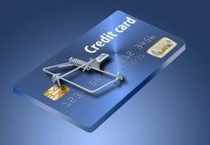 Eviti le trappole della carta di credito, come questa che assomiglia ad una carta di credito trasformata in una trappola per topi fotografie stock