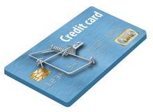 Eviti le trappole della carta di credito, come questa che assomiglia ad una carta di credito trasformata in una trappola per topi fotografia stock