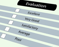 Evluation questionnaire. Closeup of evaluation questionnaire form Royalty Free Stock Image
