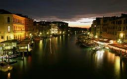 Evning op het grote kanaal in Venetië Royalty-vrije Stock Foto