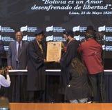 Evo Morales Ayma, Voorzitter van de Plurinationale Staat Bolivië, levert een toespraak stock fotografie