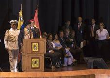 Evo Morales Ayma, Voorzitter van de Plurinationale Staat Bolivië, levert een toespraak royalty-vrije stock afbeeldingen