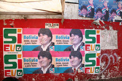 Evo Morales, Bolivia. Posters for the referendum held by President Evo Morales in August 2008, Bolivia stock image