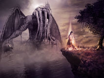 Evocation of ancient monster. Fantasy scenery with monster and evil sorceress stock illustration