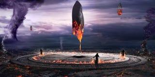 Evocation of blazing monoliths Stock Photography