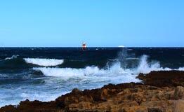 Rough sea in Sicily stock photo