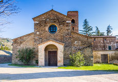 The Evocative religiosity of Italian Romanesque Church. The Romanesque style church of St John the Baptist at the eighth, also known as  Church of Tho in Stock Photo