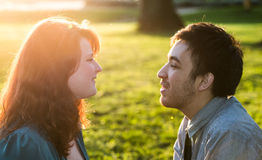 Evocative romantic portrait of a young couple Royalty Free Stock Photography