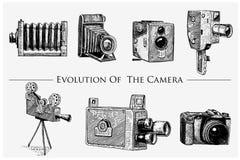 A evolução da foto, vídeo, filme, câmera de filme de primeiramente até agora o vintage, gravou a mão tirada no esboço ou no corte Imagens de Stock Royalty Free