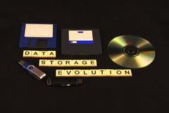 A evolução do armazenamento de dados soletrou para fora nas telhas em um fundo preto com uma variedade de dispositivos do armazen foto de stock royalty free