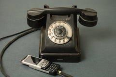 A evolução dos telefones imagens de stock