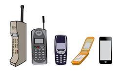 Evolução dos telefones celulares Imagens de Stock