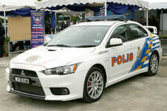 Evolução malaia real de Mitsubishi Lancer da polícia Fotografia de Stock Royalty Free
