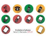 A evolução telefona ao icosn isolado no fundo Picto liso moderno Fotos de Stock