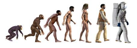Evolución humana, de monos al espacio, ejemplo 3d ilustración del vector
