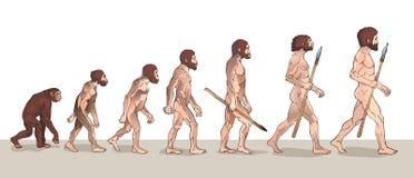 Evolución humana Evolución del hombre Ejemplos históricos Ejemplo del vector de la evolución humana stock de ilustración