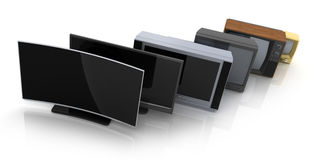Evolución TV de la fila Imagen de archivo libre de regalías