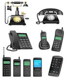 Evolución del teléfono Imagen de archivo
