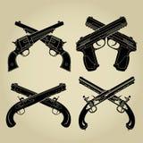 Evolução das armas de fogo, silhuetas cruzadas Fotografia de Stock