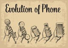 Evolutie communicatie apparaten van klassieke telefoon aan moderne mobiel Stock Afbeeldingen