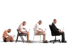 Evolutie een zakenman stock foto's