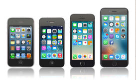 Evolutie van Apple-iPhone Stock Foto