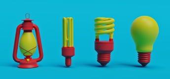 Evolutie van verlichting het 3d teruggeven stock illustratie