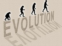 Evolution. Illustration about man's evolution and a writing made of little stones stock illustration