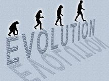 Evolution. Illustration about man's evolution and a writing made of little stones vector illustration