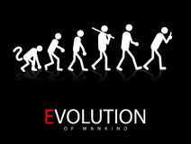 Evolution. Abstract Vector Illustration Of The Evolution Theory To Smartphone Addicts Royalty Free Stock Photo