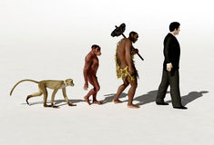Evolution. Ape, primitive and modern man Royalty Free Stock Image