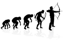 Evolution of an Archer. Illustration of depicting the evolution of a male from ape to man to Archer in silhouette Stock Photos