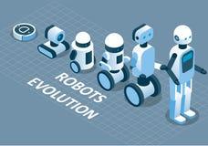 Evolution av den isometriska illustrationen för robotvektor stock illustrationer