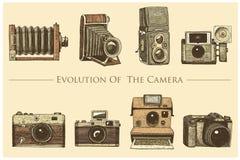 Evolution av fotoet, videoen, filmen, filmkamera från första för kassalådan tappning nu, inristade handen som in drogs skissar, e stock illustrationer