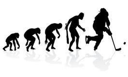 Evolution av ishockeyspelaren Arkivbild