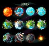 Evolution av jord, vektorbegreppsillustration royaltyfri illustrationer